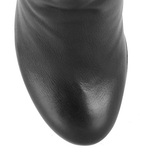 Зимние сапоги Renzi кожаные черные высокие на устойчивом каблуке, фото