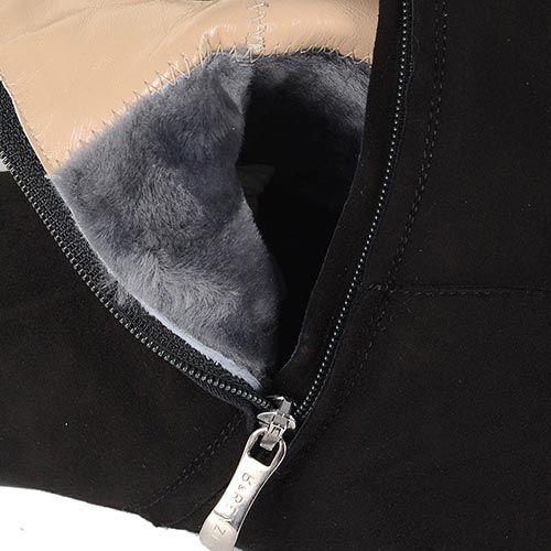 Зимние ботфорты Renzi замшевые черные по ноге на плоском ходу, фото