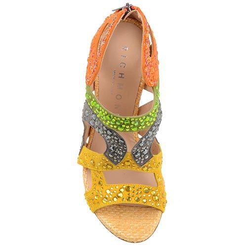 Замшевые босоножки Richmond из разноцветных букв бренда, фото