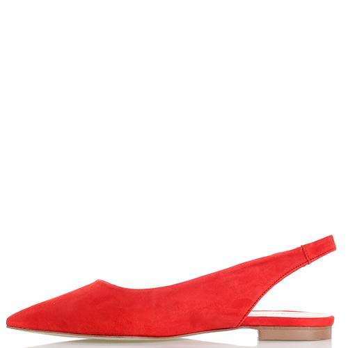 Красные балетки-слингбеки Rebecca Minkoff из замши с острым носком, фото
