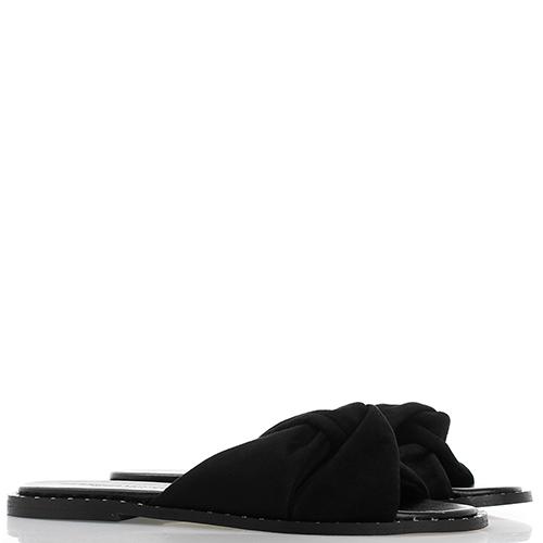 Замшевые сланцы Rebecca Minkoff черного цвета с декором-заклепками, фото