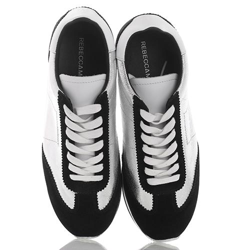 Кроссовки Rebecca Minkoff серебристые с черным, фото