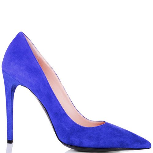 Туфли-лодочки Mascia Mandolesi замшевые яркого синего цвета, фото
