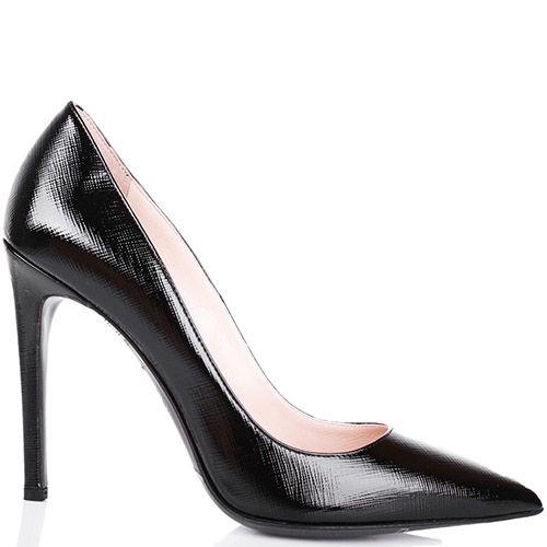 Туфли-лодочки Mascia Mandolesi черного цвета лаковые с сафьяновой отделкой кожи, фото
