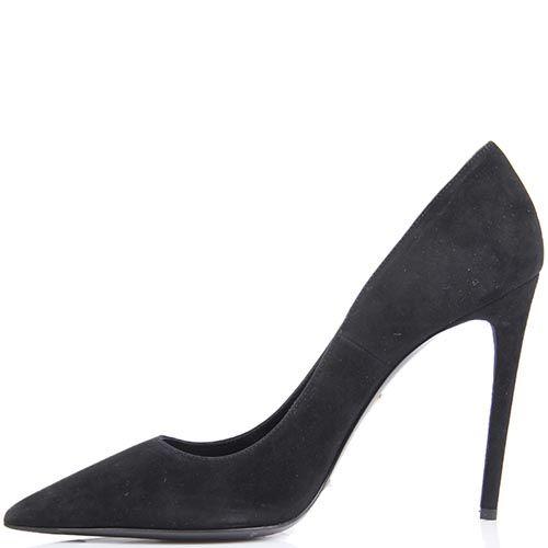 Туфли-лодочки Mascia Mandolesi черного цвета замшевые на шпильке, фото