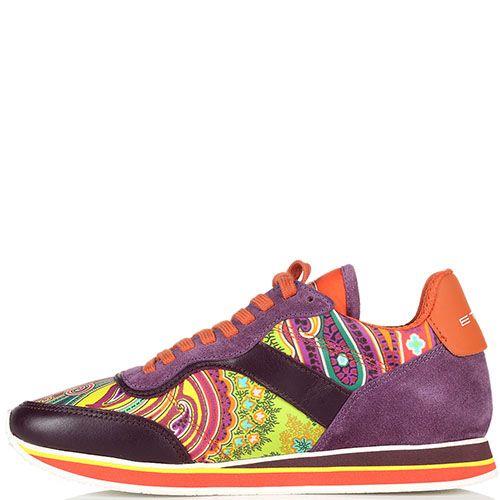 Кроссовки из замши фиолетового цвета Etro с яркими вставками из текстиля, фото