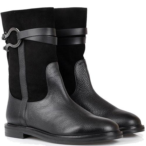 Ботинки из кожи с замшевым верхом The Seller черного цвета, фото
