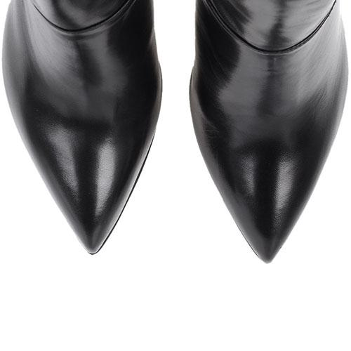Ботильоны The Seller кожаные черного цвета с узким носочком, фото