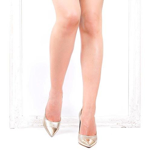 Туфли-лодочки The Seller из кожи с цепочной перфорацией цвета светлого золота, фото