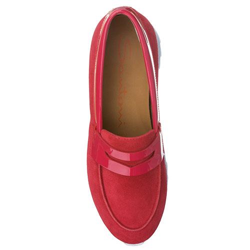 Замшевые туфли Santoni с лаковой вставкой, фото