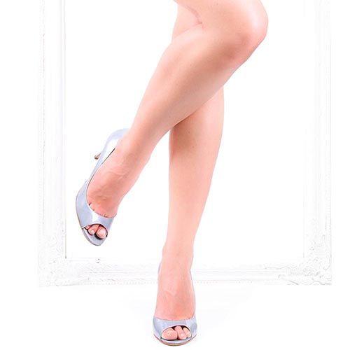 Женские туфли The Seller серо-голубого цвета с открытым носочком, фото