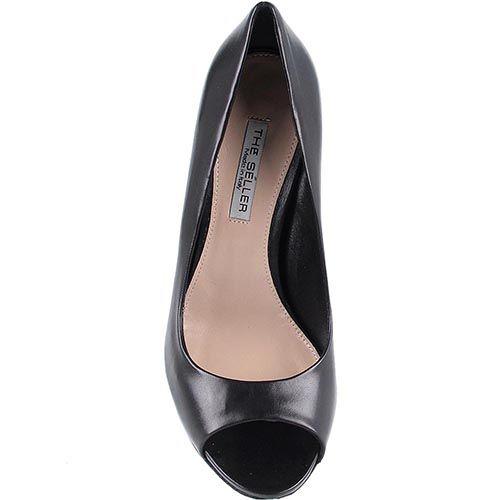 Кожаные туфли The Seller черного цвета на высокой шпильке с открытым носочком, фото