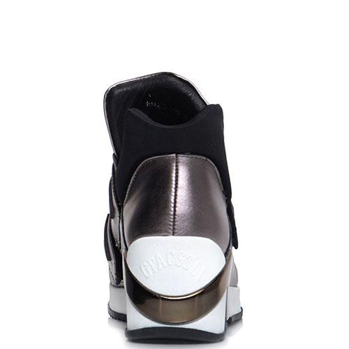 Кожаные высокие кеды Prego серебристого цвета на липучках, фото