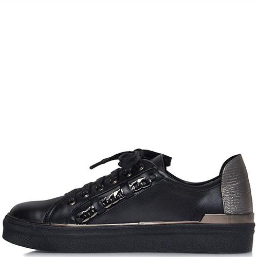 Кеды кожаные Prego черного цвета с металлическим декором, фото