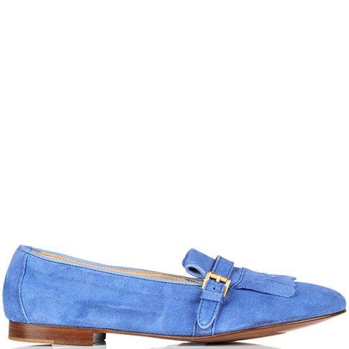 Замшевые лоферы Doucal's яркого синего цвета, фото