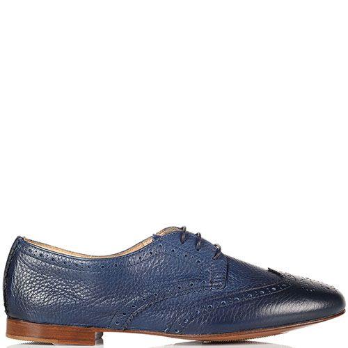 Кожаные туфли-броги Doucal's синего цвета, фото