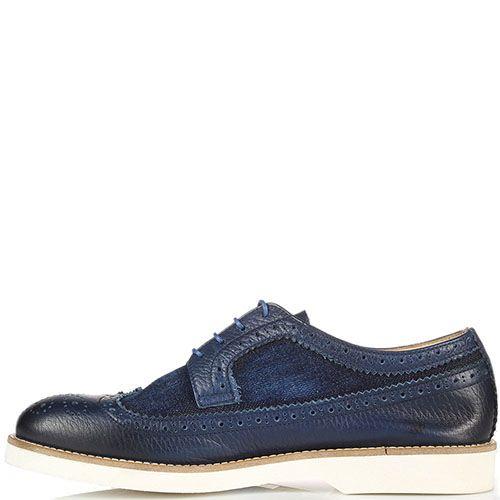 Туфли-броги синего цвета с перфорацией Doucal's из кожи и текстиля, фото