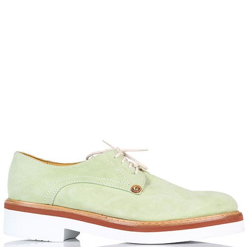 Замшевые туфли на шнуровке Cesare Paciotti зеленого цвета, фото