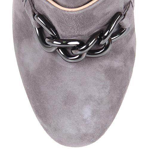 Ботильоны The Seller замшевые серого цвета с декоративной цепочкой, фото