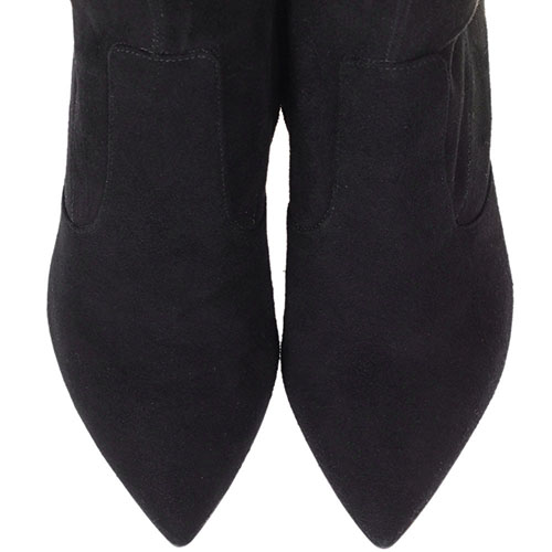 Cапоги-чулки из замши The Seller черного цвета на высоком каблуке, фото