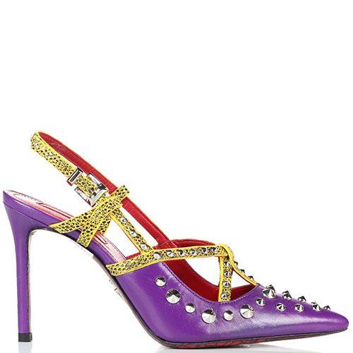 Кожаные босоножки сиреневого цвета Cesare Paciotti с яркими ремешками и декором из металлических шипов, фото