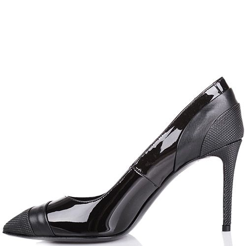 Туфли-лодочки Pollini черного цвета со вставками из фактурной и лаковой кожи, фото