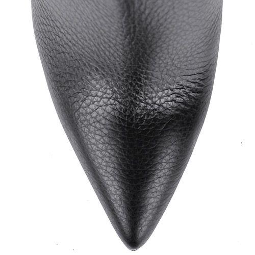 Ботильоны Pollini черного цвета на высокой шпильке из зернистой кожи, фото