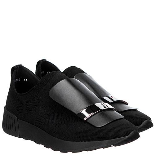 Черные кроссовки Sergio Rossi с металлическим декором, фото