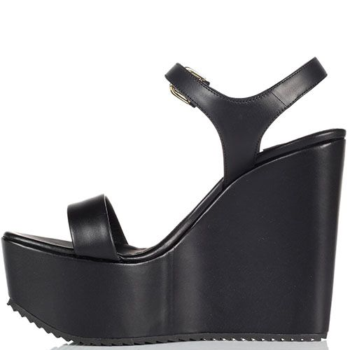 Кожаные черные босоножки Vicini на высокой платформе, фото
