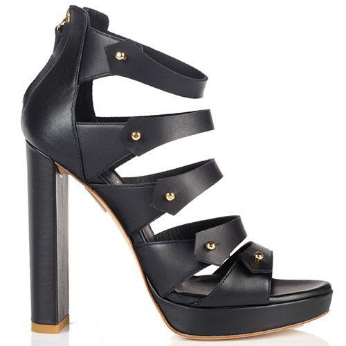 Босоножки на толстом каблуке Vicini из кожи черного цвета, фото