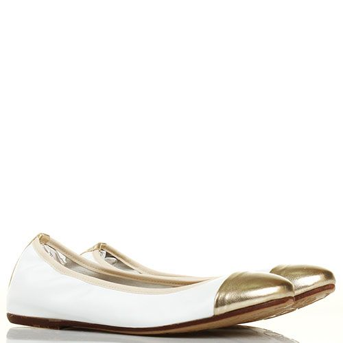 Кожаные балетки Ovye белые с золотистым носочком, фото