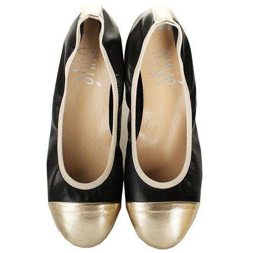 Балетки Ovye кожаные черные с носочком золотого цвета, фото