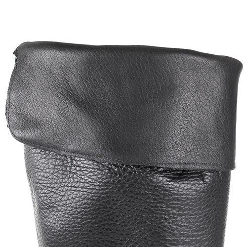 Сапоги Ovye черного цвета на плоском ходу из зернистой кожи, фото