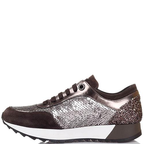 Кожаные кроссовки с замшевыми вставками Tosca Blu украшенные серебристыми пайетками, фото