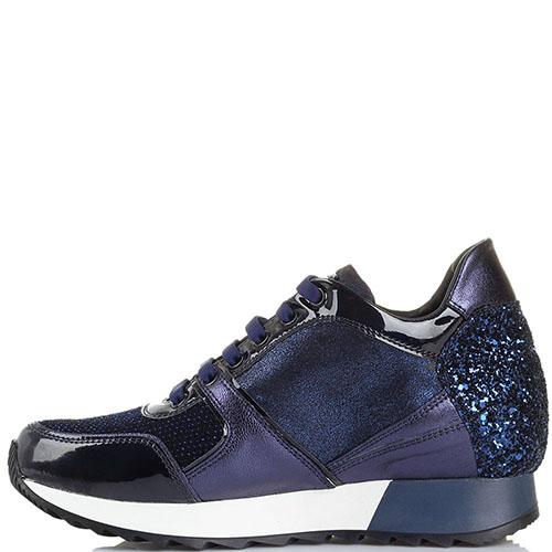 Высокие кроссовки Tosca Blu синего цвета декорированные глиттером, фото