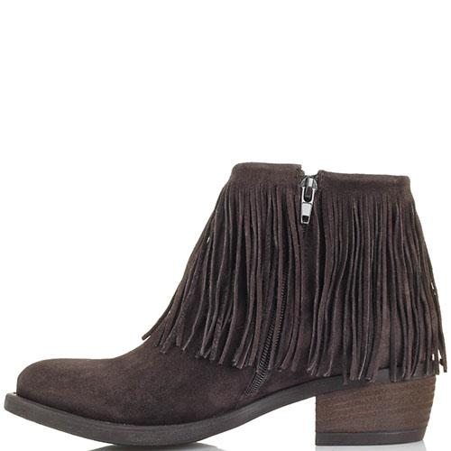 Ботинки из замши коричневого цвета Tosca Blu с декором в виде бахромы, фото