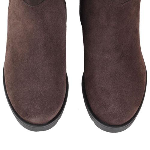 Высокие замшевые сапоги коричневого цвета Tosca Blu на рельефной подошве и толстом каблуке, фото