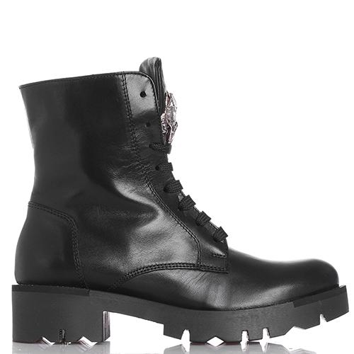 Ботинки Tosca Blu черного цвета с декором-камнями, фото