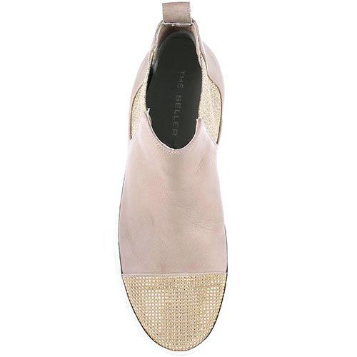 Женские кеды The Seller бежевого цвета с золотистым декором на носке, фото