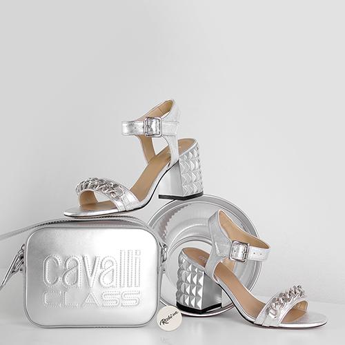 Серебряные босоножки Ovye by Cristina Lucchi с декором-цепочкой, фото
