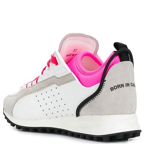 Белые кроссовки Dsquared2 на яркой шнуровке, фото