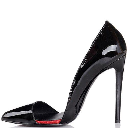 Туфли-лодочки Kandee лаковые черного цвета с блестящей красной подошвой, фото