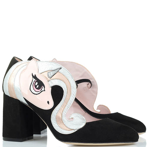 Замшевые туфли черного цвета Minna Parikka Sparks с аппликацией в виде единорога, фото