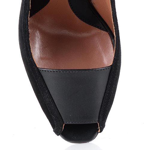 Туфли на высоком каблуке Sportmax из замши и кожи с открытым носком, фото