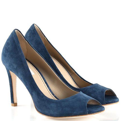 Туфли Tosca Blu с открытым носком замшевые темно-синие на средней шпильке, фото