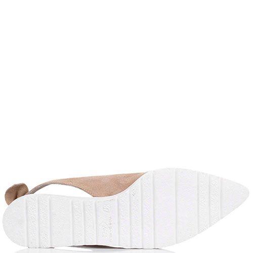 Туфли Tosca Blu из замши песочного цвета с открытой пяточкой, фото