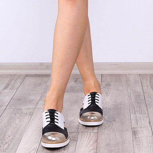 Трехцветные туфли-оксфорды Tosca Blu открытые по бокам, фото