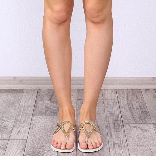 Женские сланцы Tosca Blu из кожи с золотистым глиттером, фото