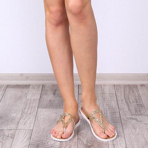 Женские сланцы Tosca Blu из натуральной кожи с золотистым глиттером, фото