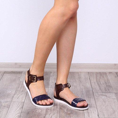Женские сандалии Tosca Blu из коричневой и темно-синей кожи с имитацией кожи рептилии, фото